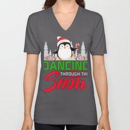 Cute Christmas Penguin Dancing through the Snow Unisex V-Neck