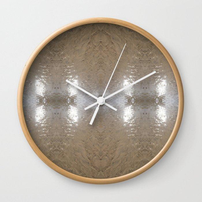 Cornwall Beach Photo 1671 Silver Stream 2 Wall Clock
