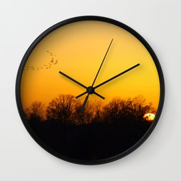 Sunset and cranes natural landscape from France Wall Clock