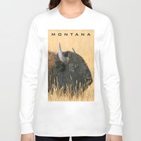 montana Long Sleeve T-shirts featuring Montana Bison by David Todd