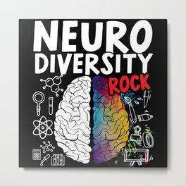 Neurodiversity Rocks Rainbow Brain Autism ASD ADHD Metal Print