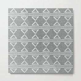 Mudcloth Pattern 626 Gray Metal Print