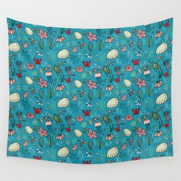 Beach and underwater pattern - fish and turtles and sea shells, oh my! Wall Tapestry