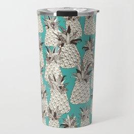 pineapple turquoise sea Travel Mug