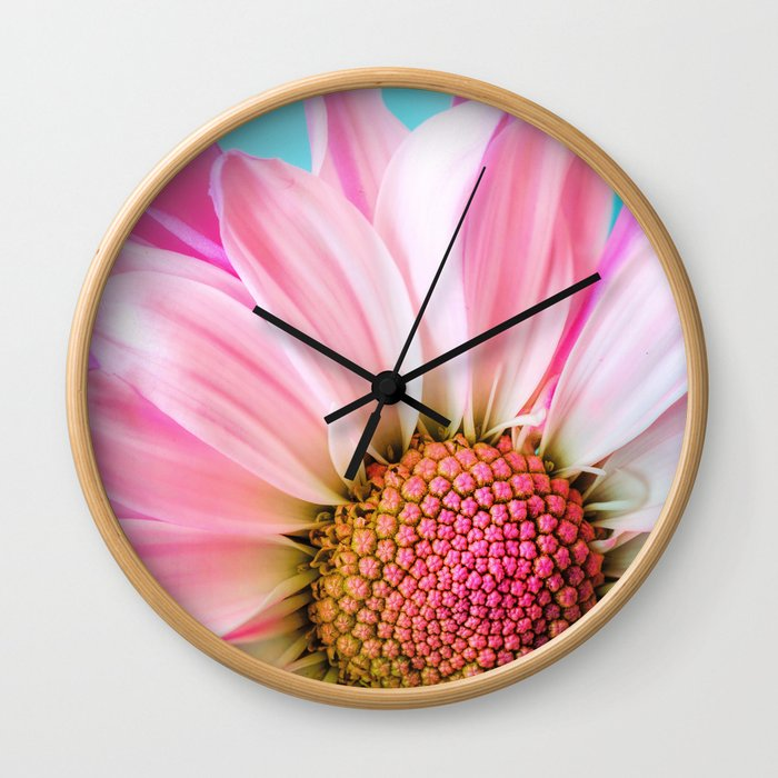 Beautiful Pink Flower Macro, Turquoise Blue Backdrop Wall Clock