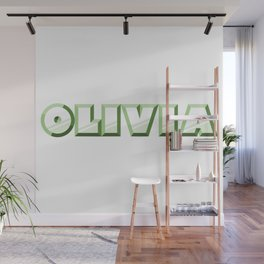 """""""OLIVIA"""" first name green pattern Wall Mural"""