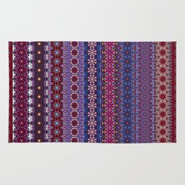 Bohemian Gyspy Stripes, Ethnic Colorful Pattern, Red and Purple Decor Rug