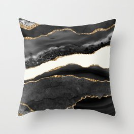 Into the Great Wide Open Black and Gold Agate Throw Pillow