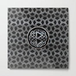 Berkana Rune  Mettallic Embossed Metal Print
