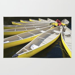 Tethered Yellow Canoes at Lost Lake in Whistler British Columbia Rug