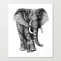 ornate Canvas Prints featuring Ornate Elephant v.2 by BIOWORKZ