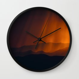 Mid Century Modern Round Circle Photo Minimal Silhouette Mountains With Sepia Umber Sky Wall Clock
