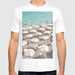 Amalfi Coast Beach Umbrella Photo | Italian Summer In Pastel Colors Art Print | Italy, Europe Travel Photography T-shirt