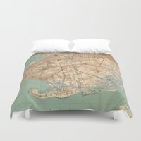 jamaica Duvet Covers featuring Vintage Map of Jamaica Bay and Brooklyn NY (1891) by BravuraMedia