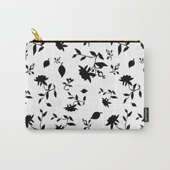 Black and white floral pattern .  Carry-All Pouch