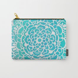 Aqua Turquoise Sparkle Doodle Pattern Carry-All Pouch