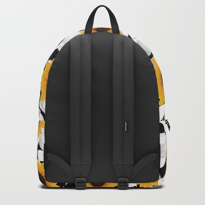 Black & white sunflower Backpack