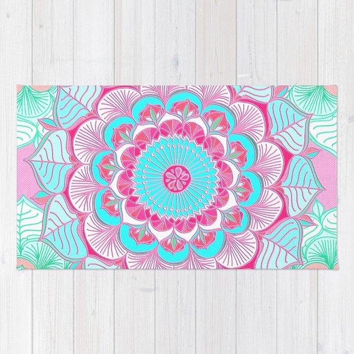 Tropical Bloom Fl Doodle In Pink Mint Peach Aqua White Rug
