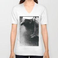 feet V-neck T-shirts featuring feet by STEPHANIE SWAIM