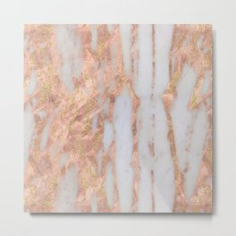 Pink Marble with Golden Lines Metal Print