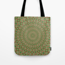 Two Tone Green With Red and White Christmas Kaleidoscope Tote Bag