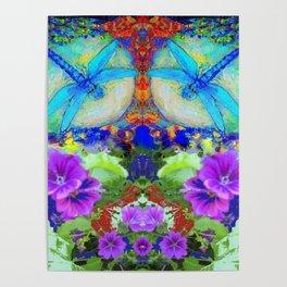 "BLUE ""ZINGER"" DRAGONFLIES  & PURPLE FLOWERS ART Poster"