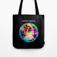 warhammer Tote Bags featuring Epic Mythical Creatures chart by Jez Kemp