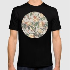 Soft Vintage Rose Pattern Black Mens Fitted Tee MEDIUM