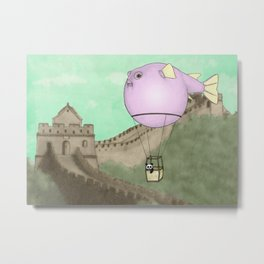 Panda flying on a blowfish Metal Print
