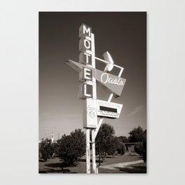 Historic Route 66 Googie Neon Sign - Oasis Motel - Tulsa Oklahoma USA - Sepia Canvas Print