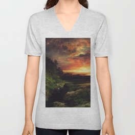 Sunset at the Grand Canyon landscape painting by Thomas Moran Unisex V-Neck