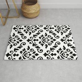 Damask Baroque Pattern Black on White Rug