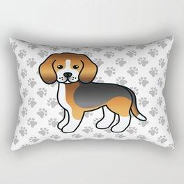 Cute Tricolor Beagle Dog Cartoon Illustration Rectangular Pillow