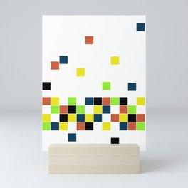 Retro Falling Blocks Tile Pattern - Digital Illustration - Graphic Design Mini Art Print