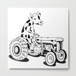 Cow Driving A Tractor Metal Print