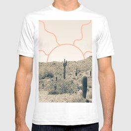 Wonder Rift // Abstract Vintage Mountains Summer Sun Surfer Beach Vibes Drawing Happy Wall Decor T-shirt