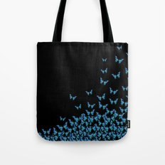 Blue Butterfly Dark Tote Bag