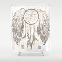 dreamcatcher Shower Curtains featuring Dreamcatcher by Julia