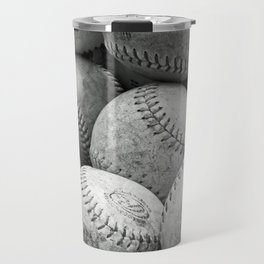 Vintage Baseballs in Black and White Travel Mug