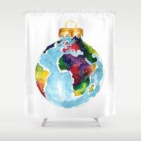 globe Shower Curtains featuring Globe Bauble by Bridget Davidson