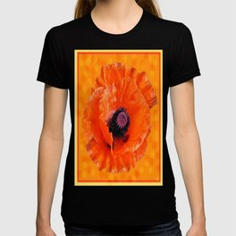 Decorative Orange Poppy Flower Orange-Yellow Art Design T-shirt
