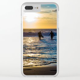 California Sunset Surfing edition Clear iPhone Case