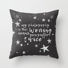 Suffering Twice Throw Pillow