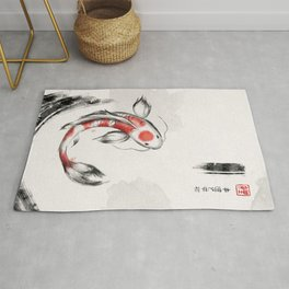 Good Luck And Peace Koi Japanese Ink Rug