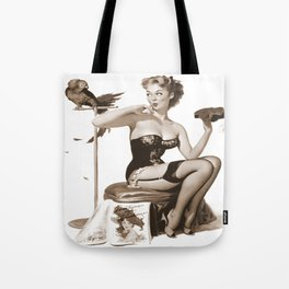 No You Don't by Gil Elvgren Sepia Pin Up Girl Tote Bag