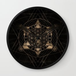 Bat in Sacred Geometry - Black and Gold Wall Clock