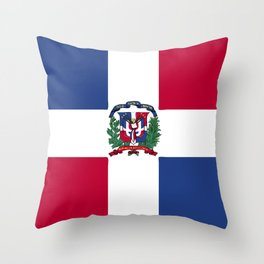 Dominican Republic flag emblem Throw Pillow