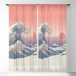 The Great Wave of Dachshunds Sheer Curtain