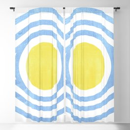 Yellow and Blue Bullseye Watercolor Blackout Curtain