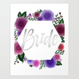 Shiny silver Bride (floral hexagon) Art Print